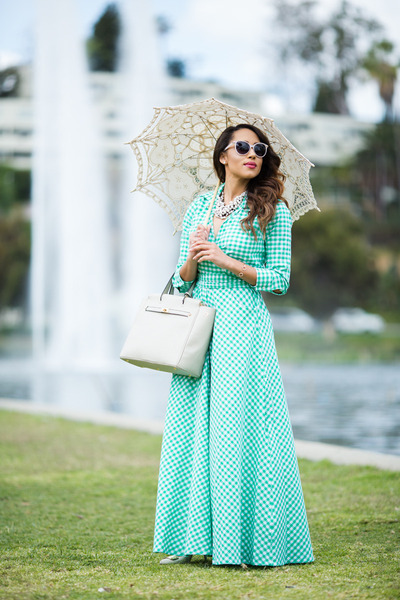 aquamarine checkered Shabby Apple dress - white Sole Society shoes