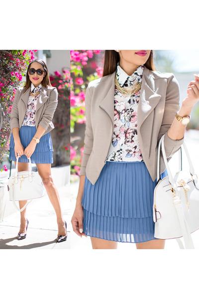 tan kohls jacket - black kate spade shoes - floral print kohls shirt