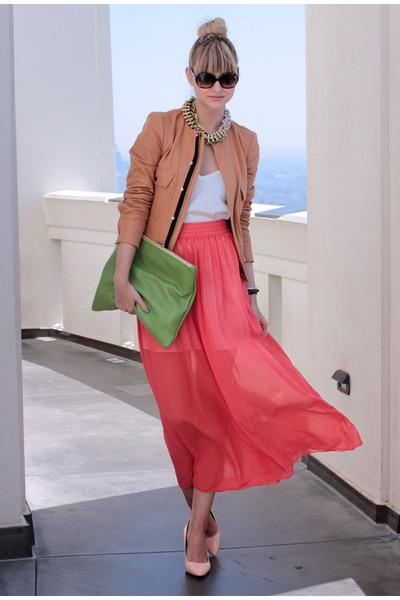 salmon American Apparel skirt