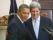 Il presidente Usa Barack Obama con il nuovo segretario di Stato Usa John Kerry (Reuters)