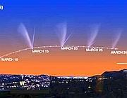 Il percorso della cometa Pan-Starrs fino al 30 marzo