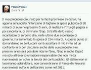 Il messaggio di Monti su Facebook in cui sfida Berlusconi in tv