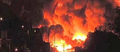 La città di Lac Megantic sconvolta dalle fiamme