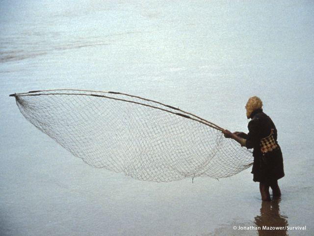 I Wichì dell?Argentina percepiscono la presenza dei pesci dai movimenti dell?acqua sulla superficie, e li catturano con una rete tesa tra due pali (a cura di Joanna Eede ? www.survival.it)
