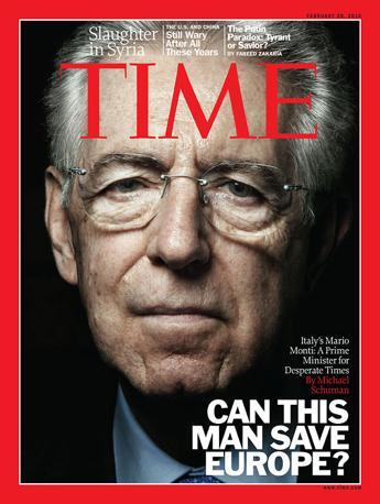 Mario Monti è l'ultimo italiano (in ordine cronologico) a comparire sulla copertina di Time. Prima di lui altri connazionali sono stati citati dal settimanale statunitense. Tra questi anche l'avvocato Gianni Agnelli, Luciano Pavarotti e Giorgio Armani