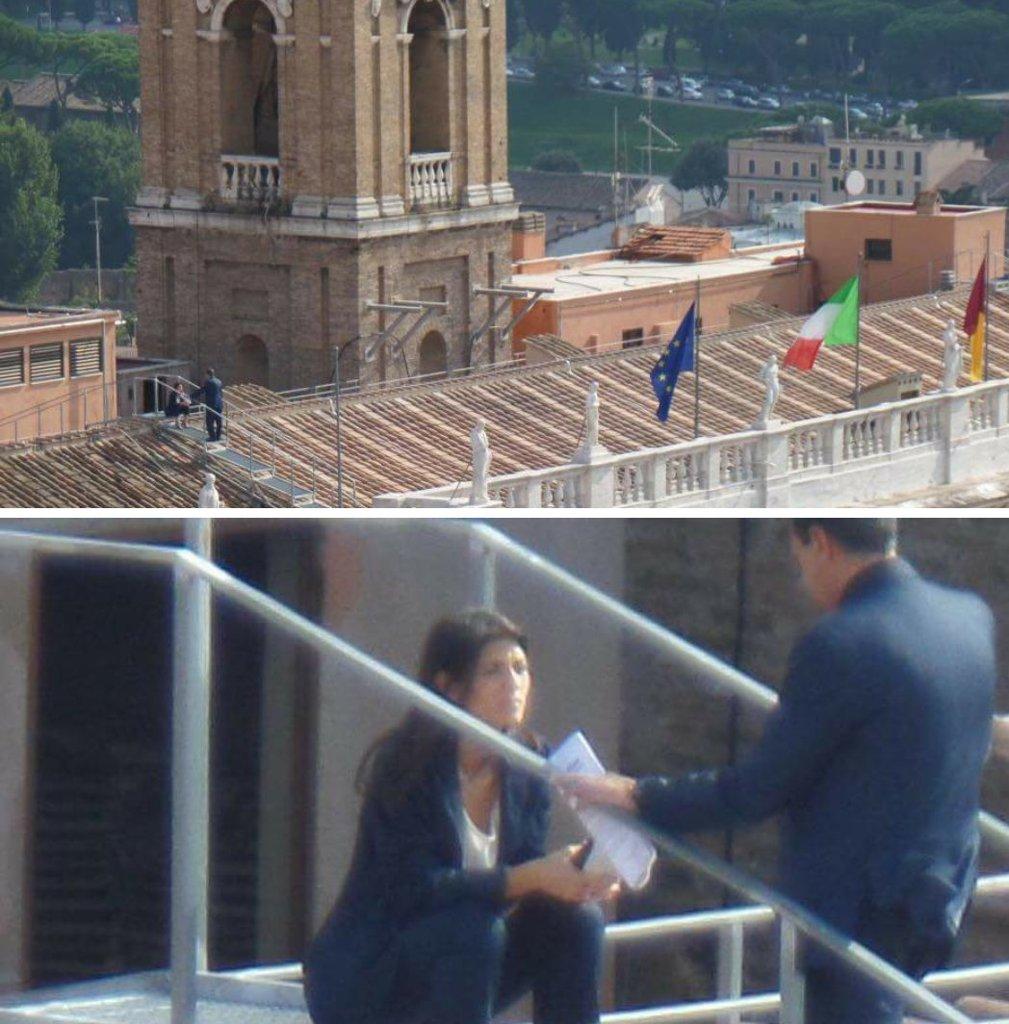 Virginia Raggi la riunione sul tetto del Campidoglio le foto sul web  Corriereit