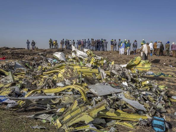 The debris of the 737 Max in Ethiopia