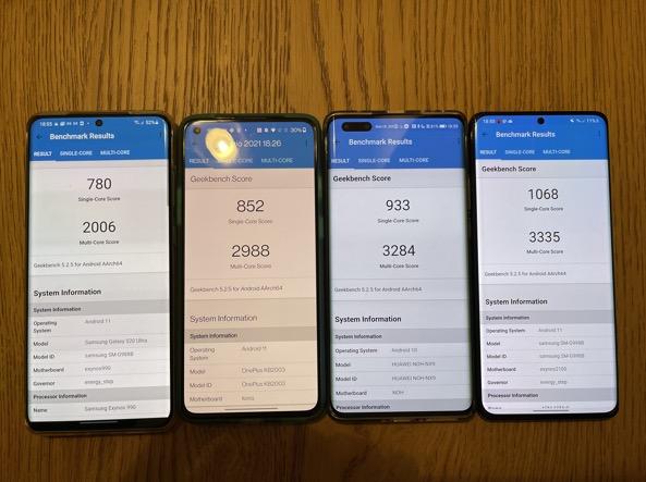 Da sinistra: i risultati in single core e multicore di Samsung S20 Ultra, OnePlus 8T, Huawei Mate 40 Pro, Samsung S21 Ultra