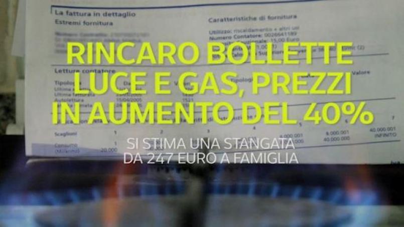 Rincaro bollette luce e gas, prezzi in aumento del 40% nel prossimo  trimestre - Corriere TV