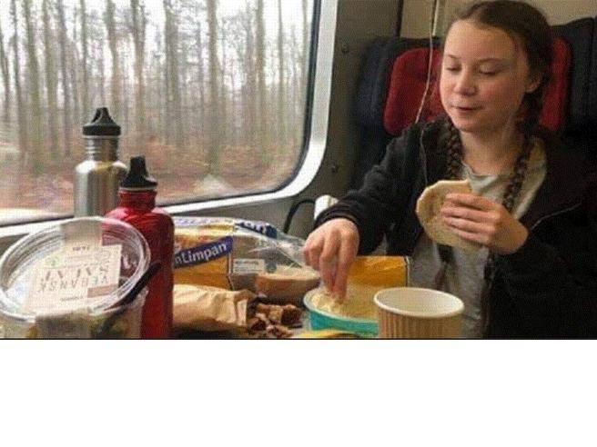 La foto di Greta Thunberg che mangia cibo confezionato in