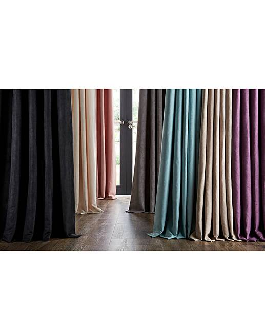 Faux Suede Eyelet Lined Curtains  J D Williams