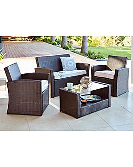 6pc milan modular rattan corner sofa set washable fabric outdoor garden furniture j d williams kempton coffee brown