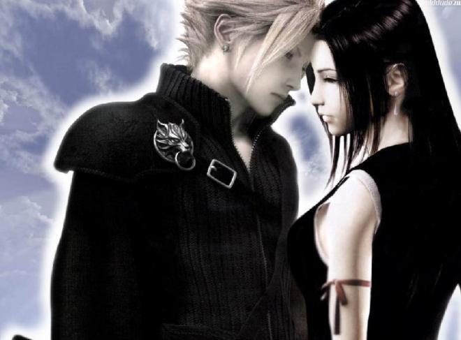 Romantic picture of Cloud Strife and Tifa Lockhart from Final Fantasy Seven.