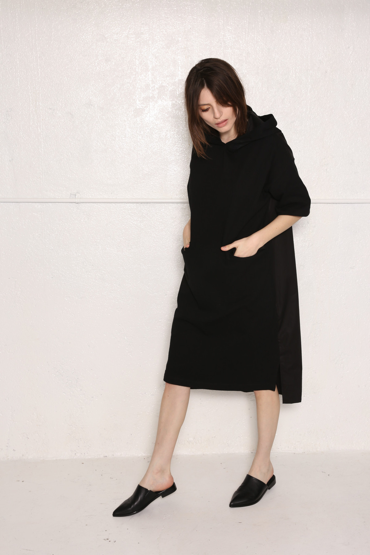 Intentionally Blank Cameo Oversized Hooded Shirt Dress