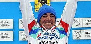La gioia di Serpa sul podio. Bettini
