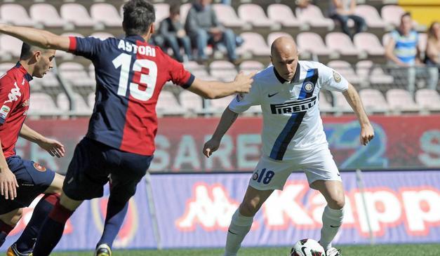 Rocchi in azione a Trieste contro il Cagliari