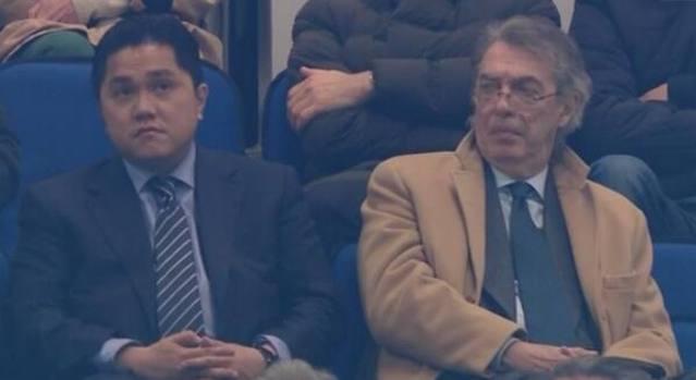 Thohir e Moratti a San Siro durante Inter-Udinese