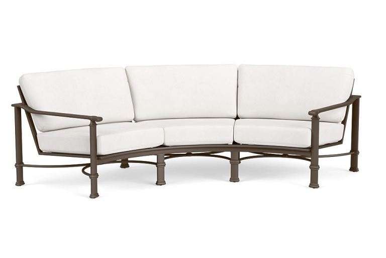 brown jordan outdoor patio curved sofa