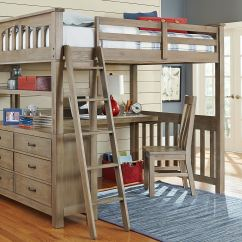Loft Bed With Desk And Futon Chair Navy Covers Hillsdale Kids Teen Youth Highlands Full