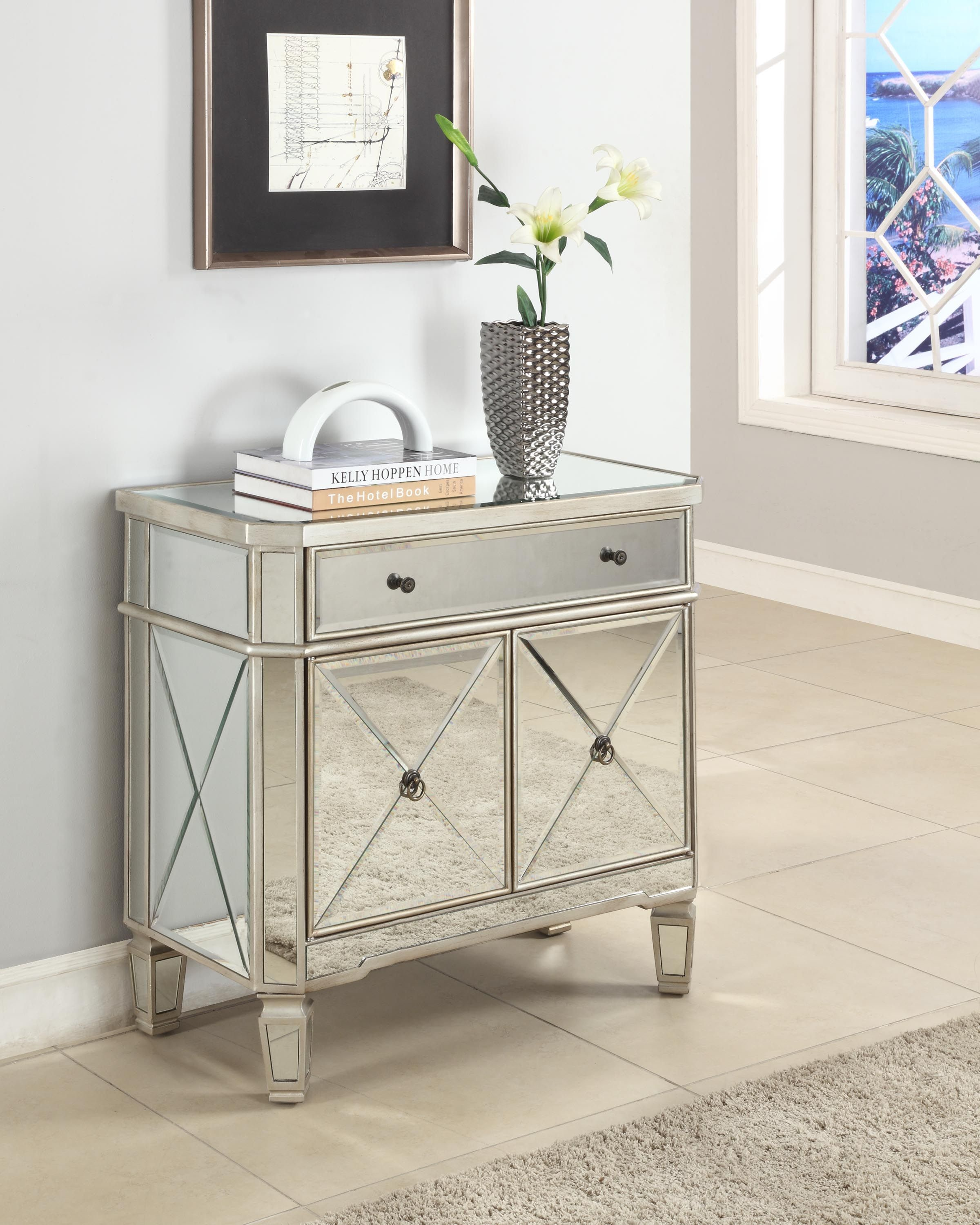 living room console tables mirrored tv panel for powell furniture 1 drawer 2 door 233 228 at capperella
