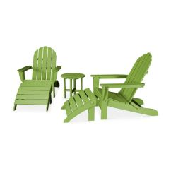 Polywood Classic Adirondack Chair Orange Kitchen Cushions Outdoor Patio Oversized Curve Back 5 Piece Casual Set Pws112 1