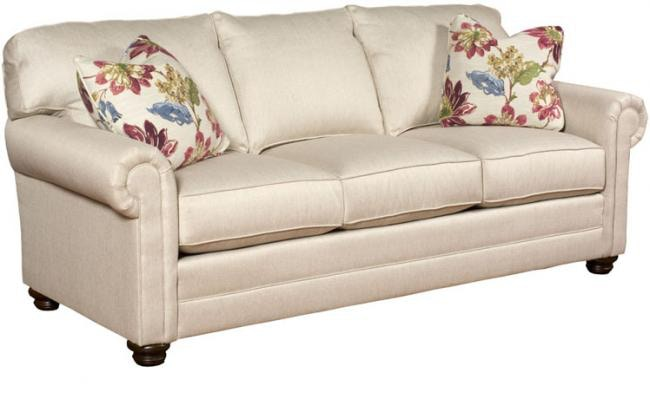 King Hickory Living Room Bentley Fabric Sofa With Panel Arm Attached Back  Bun Foot And 4400