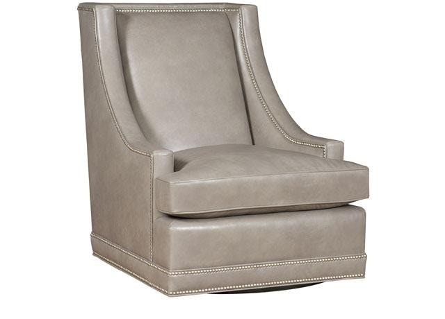 King Hickory Living Room Springfield Leather Swivel Chair