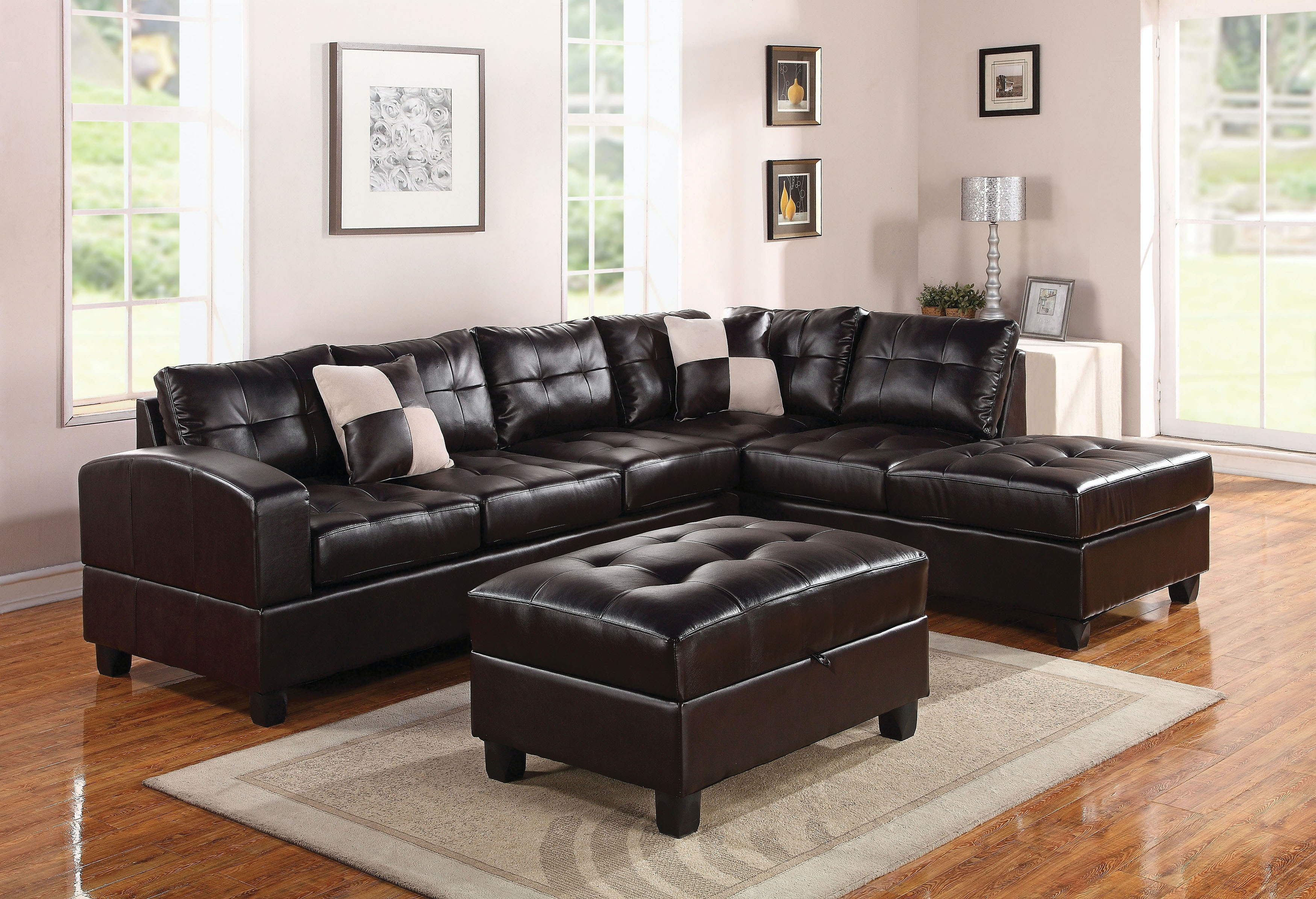 brooklyn bonded leather lounger chair and ottoman hanging clear acme furniture living room kiva sectional sofa with 2 pillows