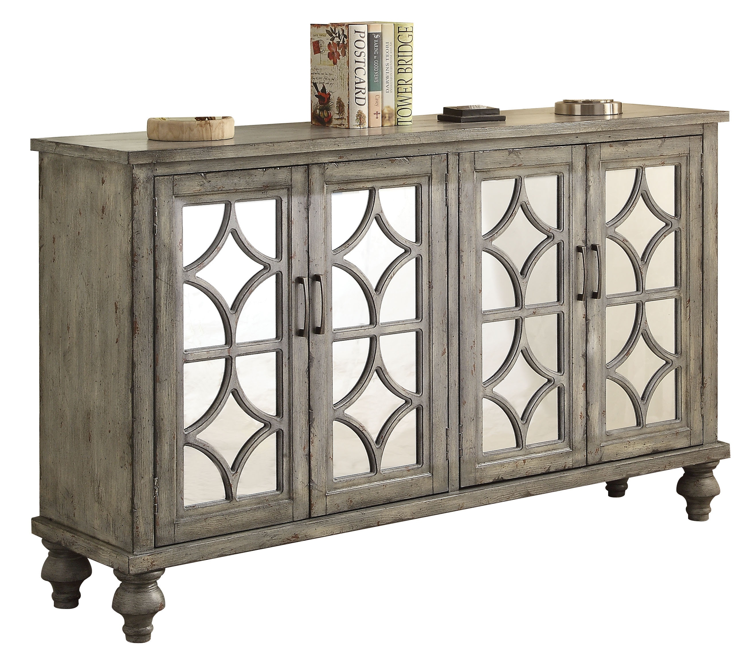 living room console light hardwood floors acme furniture table 4 doors 90280 the at mall