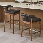 Moderno Bar Stool Black Marble Leather Gv2579