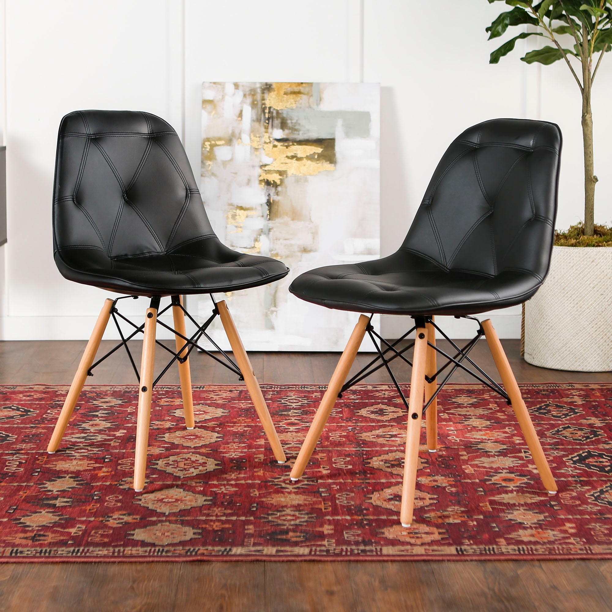 mid century modern kitchen chairs outdoor bbq kits upholstered faux leather eames home office dining ft myers set of 2 black wedch18pu2bl