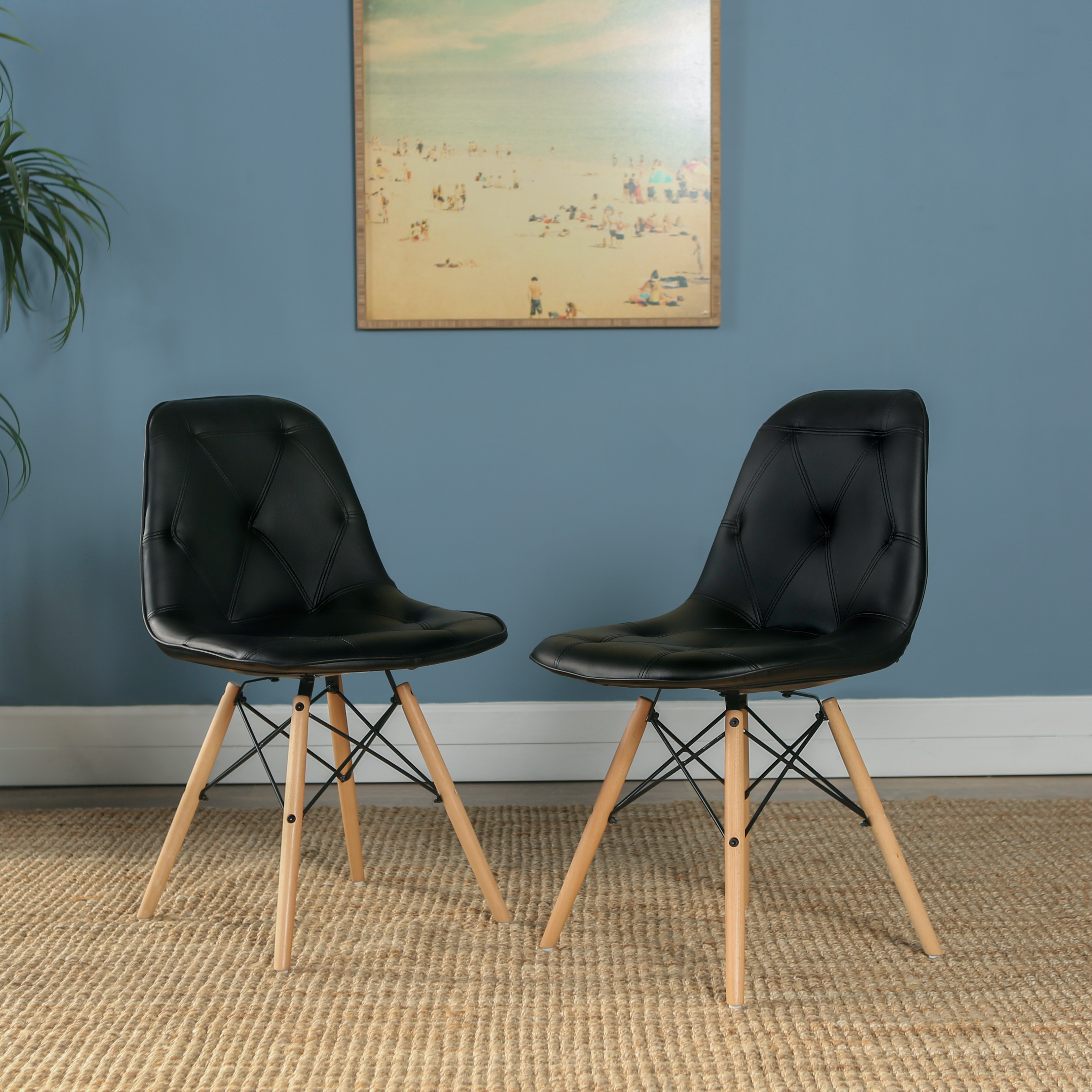 eames leather chair dining covers jysk mid century modern upholstered faux home office ft myers kitchen chairs set