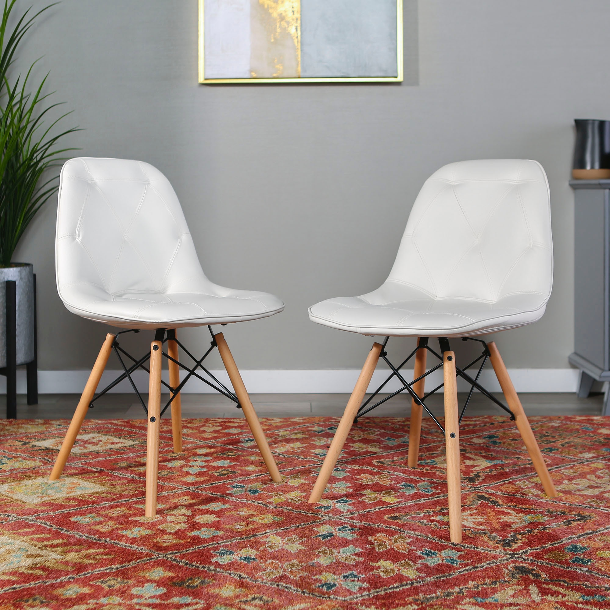mid century modern kitchen chairs hotels with upholstered faux leather eames home office dining ft myers set of 2 white wedch18pu2wh