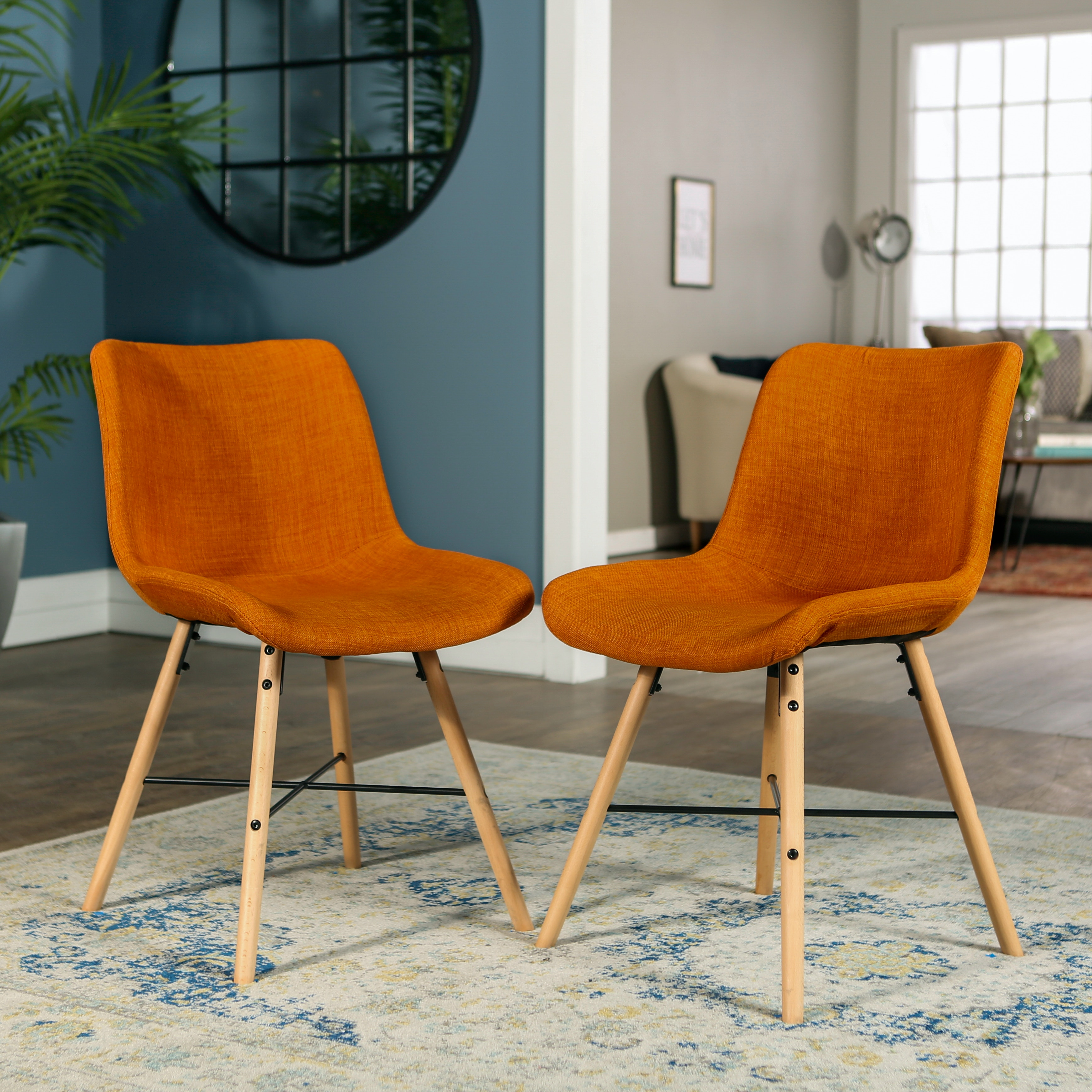 mid century modern kitchen chairs new kitchens upholstered linen dining accent side ft myers chair set of 2