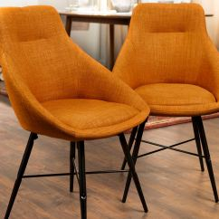 Mid Century Accent Chair Folding Table And Chairs For Toddlers Modern Upholstered Dining Side Set Of 2 Ft Myers Orange