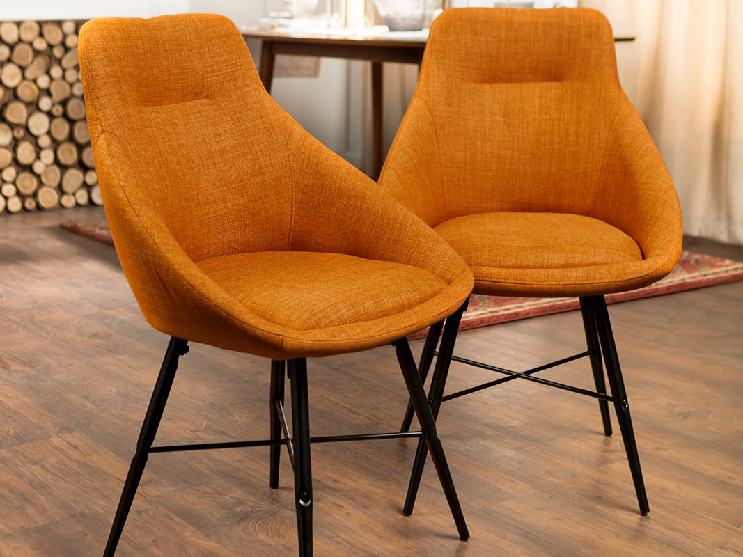 orange upholstered chair children s rocking mid century modern dining side accent set of 2 ft myers