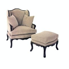 French Bergere Chair And Ottoman Low Profile Outdoor Chairs Chaddock Living Room Uc3190