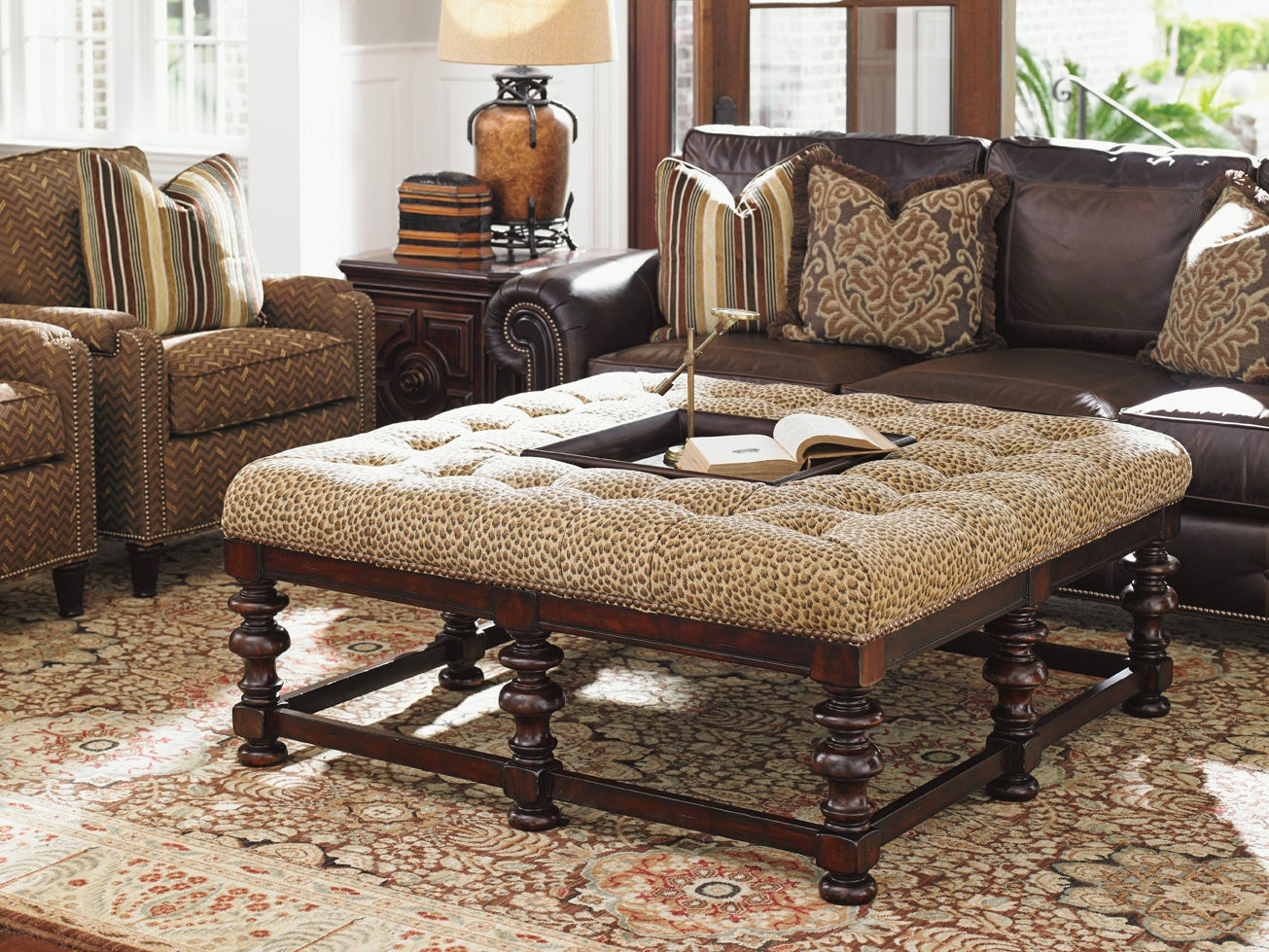 tommy bahama living room 5th wheel rv front home heather cocktail ottoman 7900 44