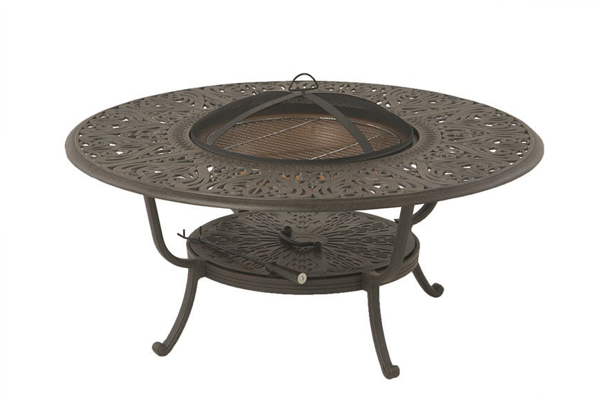 48 round wood fire pit table