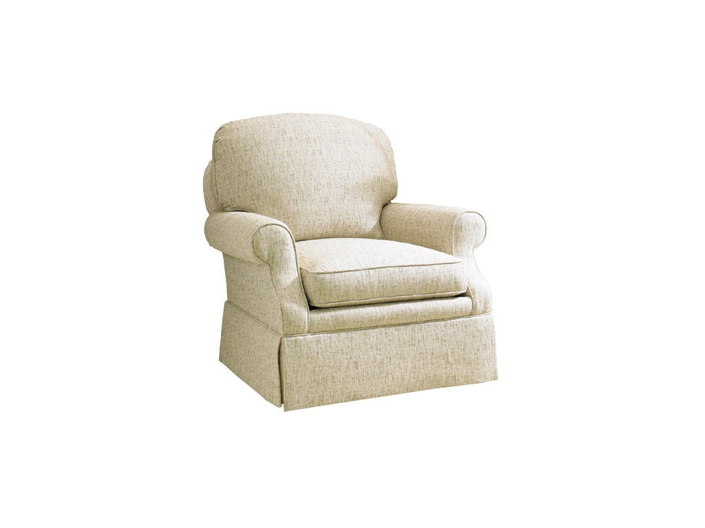bedroom chair with skirt microfiber reclining and ottoman sherrill furniture living room arm w kick pleat