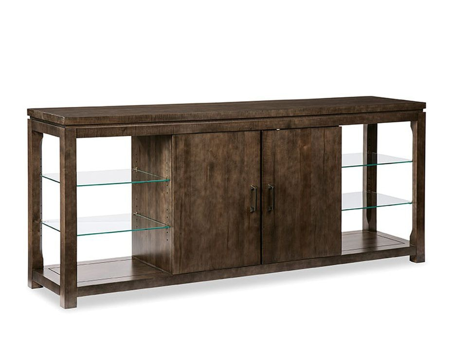 Durham Furniture Living Room Glass Shelf Console Cabinet