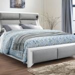 Global Furniture Usa Bedroom Queen Bed Headboard With Stereo And Light White Pu Grey