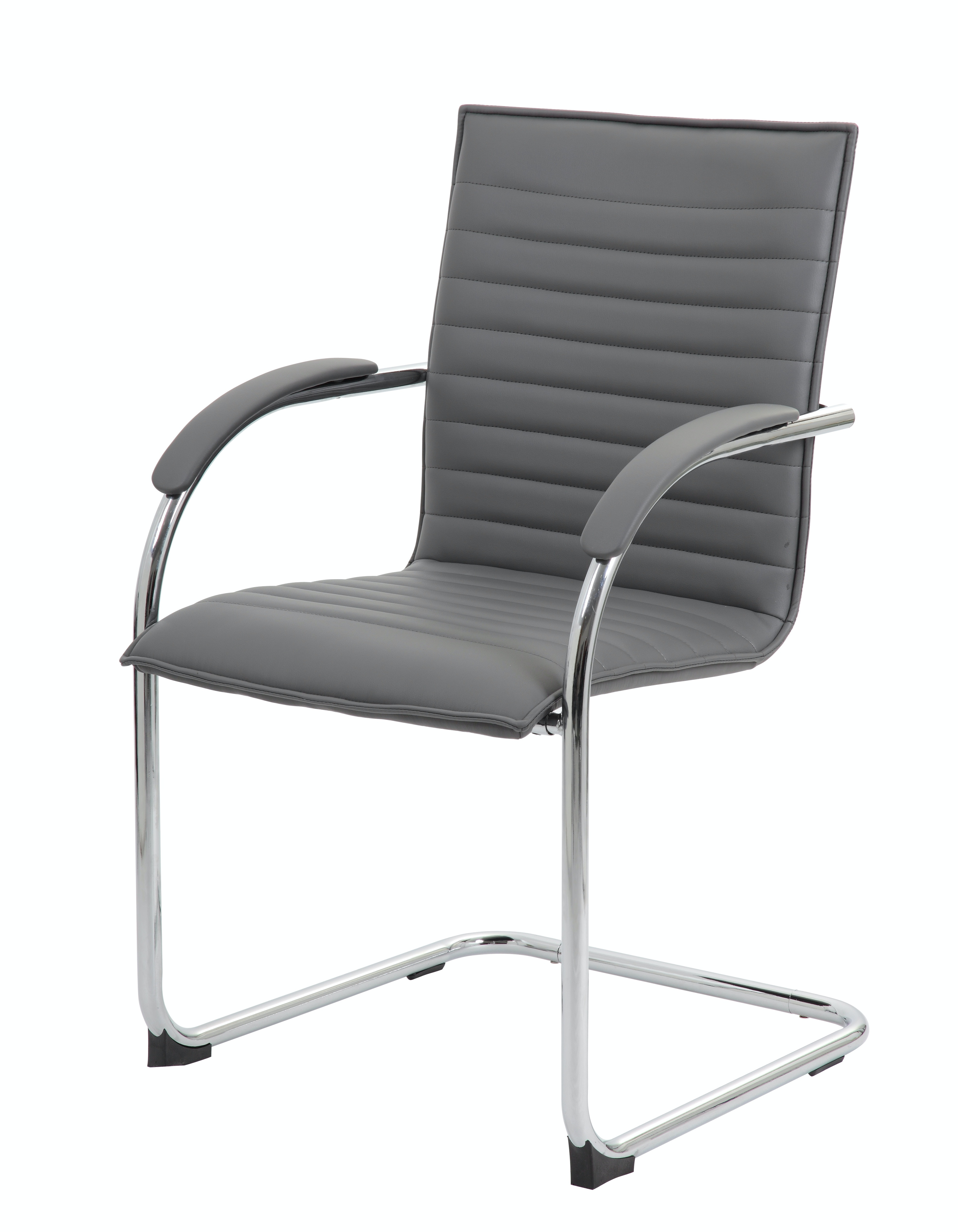 office side chair adams plastic adirondack chairs lowes presidential seating home boss chrome frame grey vinyl 2 pack b9536 gy