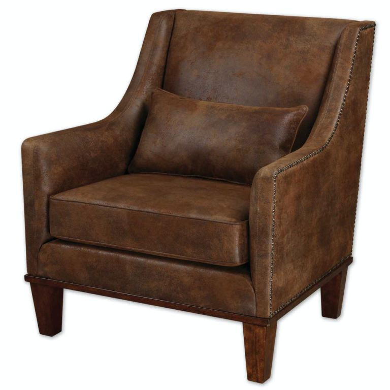 Leather Arm Chairs Uttermost Living Room Clay Leather Armchair 23030 Carol