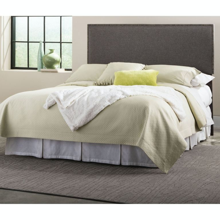 fashion bed group bedroom brookdale upholstered headboard panel with solid wood adjustable frame and nail head trim design jitterbug gray finish  [ 1024 x 768 Pixel ]