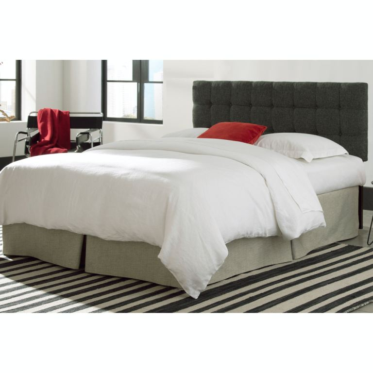 fashion bed group bedroom covington upholstered headboard panel with solid wood adjustable frame and button tufted design grande carbon gray finish  [ 1024 x 768 Pixel ]
