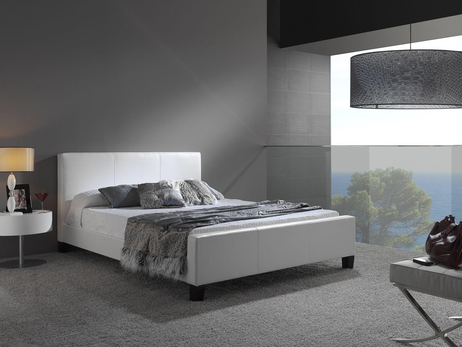 Leggett Platt Bedroom Euro Complete Faux Leather Upholstered Platform Bed And Bedding Support