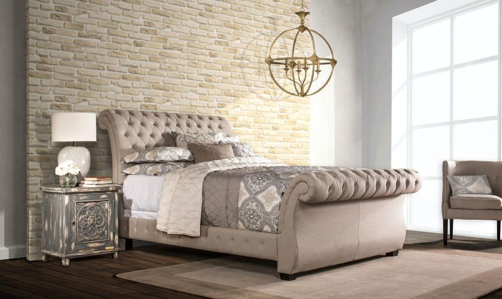 Hillsdale Furniture Bedroom Bombay Bed Set Queen Linen Stone Fabric Bed Rails Included