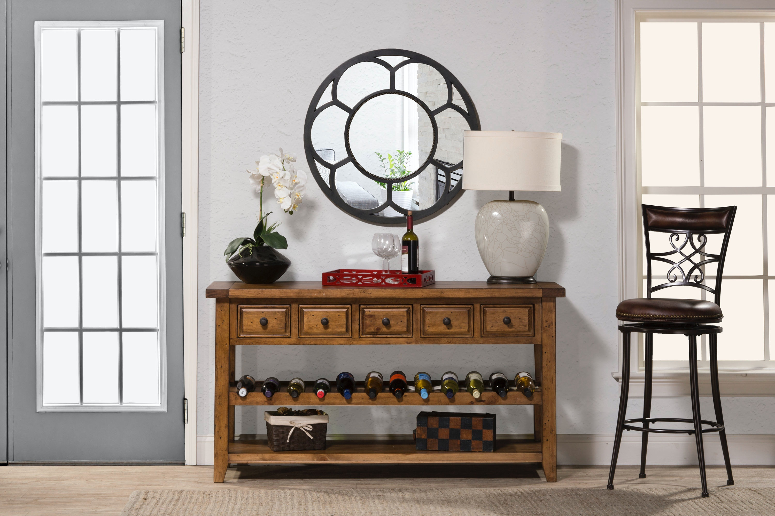 wine rack in living room design dark wood floors hillsdale furniture tuscan retreat hall table with 5 five drawers 4100 1022w at carol house