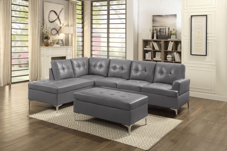 Homelegance Living Room Ottoman, Grey Pu 8378gry4  D